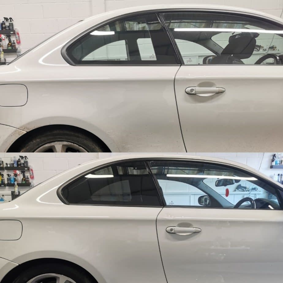 white car window tint before and after look